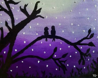 Lilac Love Birds Oil Painting Print