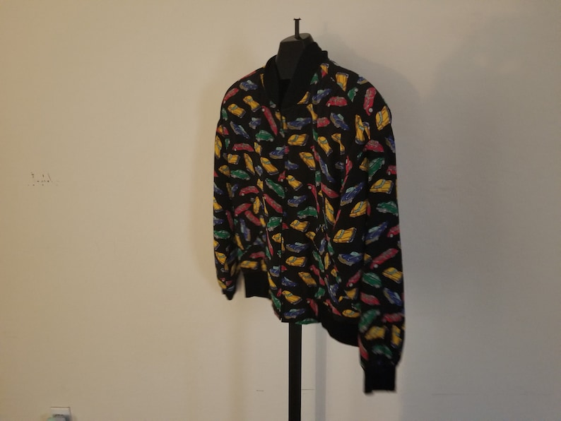 Vintage Adam Douglass With Adrianna Papell Size Large 1980s 100/% Silk Classic Car Print Design Zipper Down Long Sleeve Jacket With Pockets