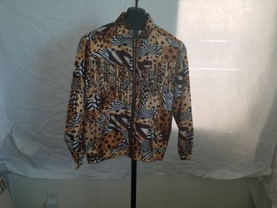 Vintage EVR Size S/P 1990s Cheetah Print Zipper Do