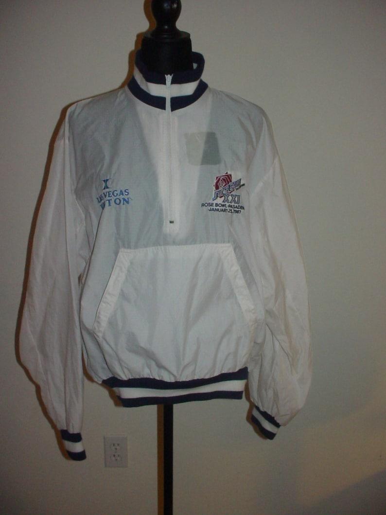 los angeles 81f8f 9a142 Las Vegas Hilton Super Bowl XXI Rose Bowl Pasadena, CA 1-27-1987 White  Jacket XL