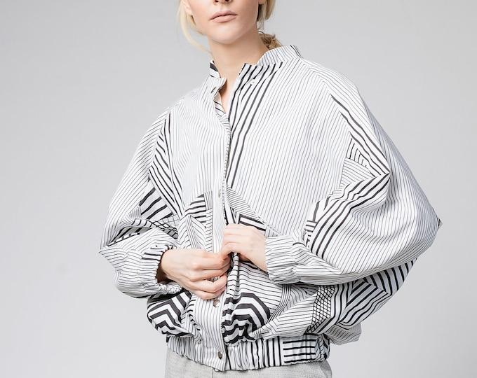 White bomber jacket for women, Retro puffer jacket, Black and white cotton coat, aesthetic 90s clothing, Womens festival clothing