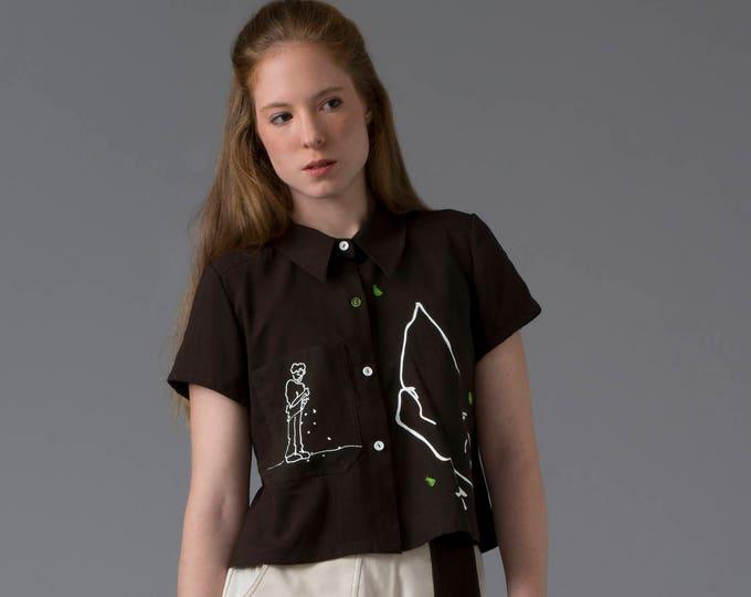 Crop shirt Green chicken blouse/ Short shirt Crop top / Printed Hungarian blouse / Garden blouse Bohemian clothing
