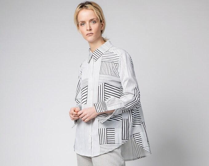 Long white tunic shirt, Casual white top, Oversized white blouse, Buttoned up shirt, Long sleeved cotton shirt, Minimalistic clothing