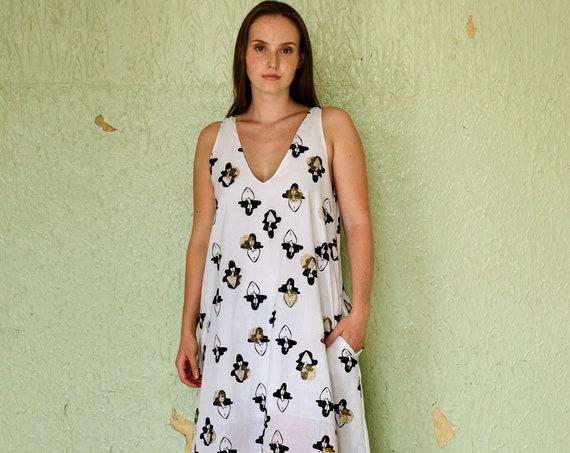 A-line maxidress - ladies print