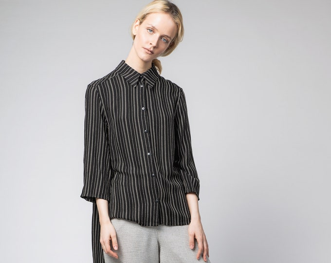 Black tunic shirt, Long sleeved loose blouse, Black striped kaftan shirt, Casual Top, Long minimalist blouse