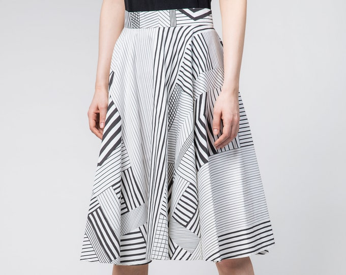 Printed circle skirt, Summer skirt, High waisted midi skirt, Aesthetic clothing, Bridesmaid gift, Black and white full skirt