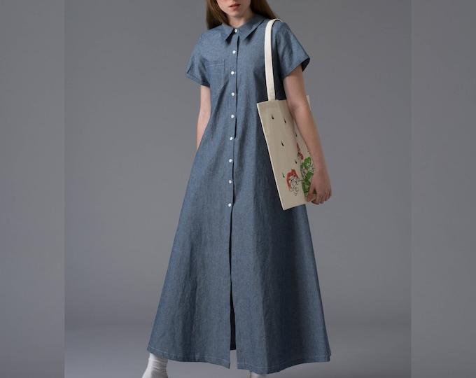 Denim maxi dress Blue summer dress Loose boho jean dress  Short sleeved long cotton fabric dress
