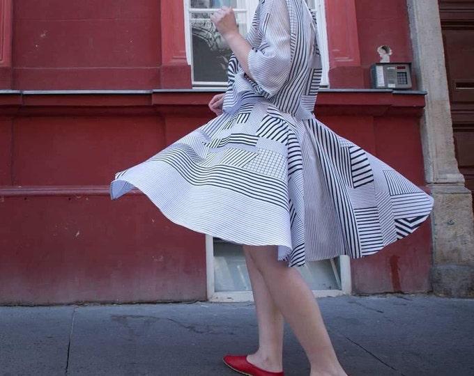 Printed circle skirt,Summer skirt, High waisted midi skirt, Aesthetic clothing, Bridesmaid gift, Black and white full skirt