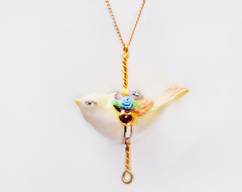 Merry Go Round Porcelain Bird Pendant and gold plated necklace/ Bird Necklace/ Bird Pendant/ Animal Necklace/ Necklace/ Porcelain Necklace