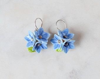 Porcelain Blue Forget Me Not drop earring/ earrings/ dangle earrings/ flower earrings/ porcelain earrings/ flower jewellery/ Forget Me Not