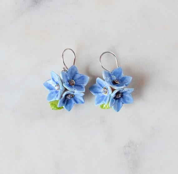 2a58b91f47c Porcelain Purple Forget Me Not drop earring/ earrings/ dangle earrings/  flower earrings/ porcelain earrings/ flower jewellery/ Forget Me Not