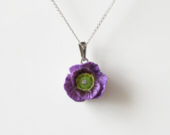 Porcelain Purple Poppy pendant with sterling silver necklace/ Poppy Necklace/ Poppy Pendant/ Poppy/ Flower Necklace/ Flower Pendant/ Purple