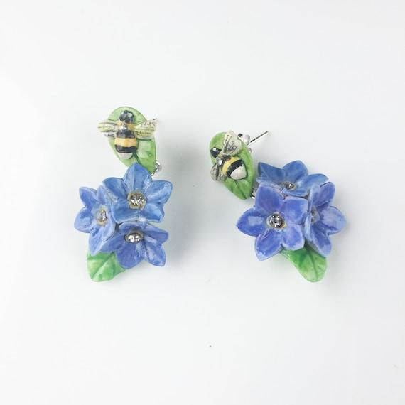 22aae85a75a Porcelain Bee and Purple Forget Me Not drop earring/ earrings/ flower  jewellery/ flower earrings/ porcelain earrings/ bee/ Forget Me Not