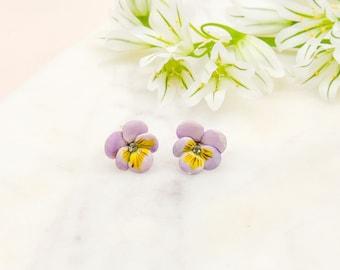Porcelain Pastel Purple Pansy Stud Earring/ Pansy earrings/ Stud earrings/ Dainty earrings/ Porcelain Flower Earrings