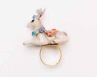 Porcelain Deer Ring/ Statement Ring/ Porcelain Ring/ Ceramic Ring/ Deer Ring/ Porcelain Ring/ Animal ring/ Ring