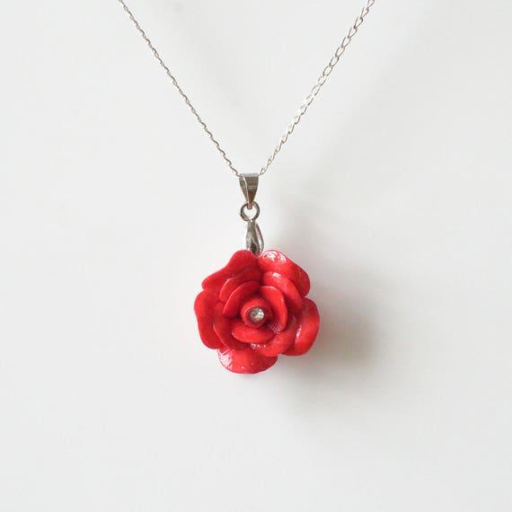 Collar de Plata de ley hecho a mano flores rojo rosa Regalo de San Valentín Real Joyas