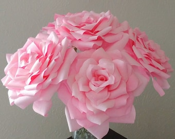 Big paper flowers etsy extra large roses very large pink roses oversized flowers big paper flowers paper wedding decor oversized centerpiece pink theme mightylinksfo