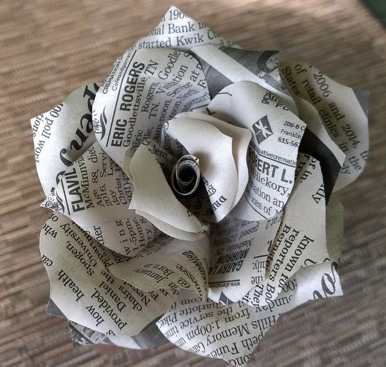 b4f4acfa6e074 Newspaper Flowers Paper roses newsprint roses Upcycled