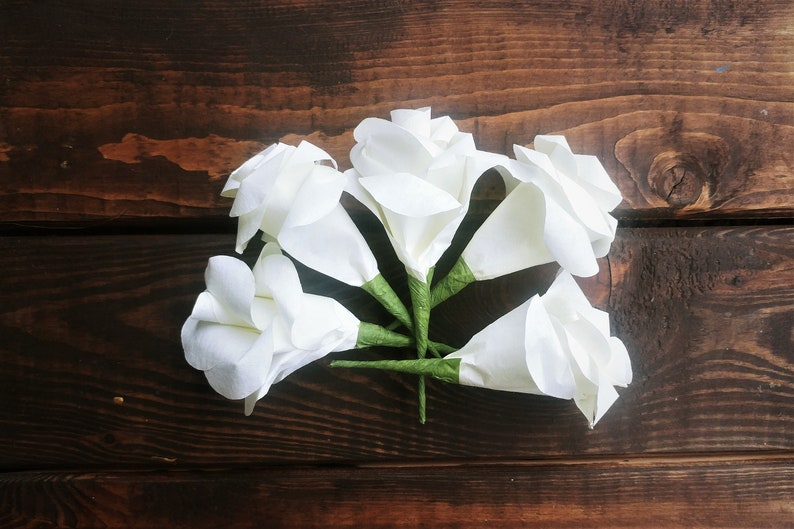 White Boutonniere Flowers Boutonniere Roses Small Paper Flowers Corsage Flowers Small Paper Roses Paper Craft Flowers White Corsage