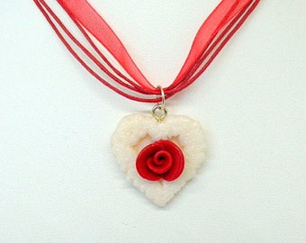 "Necklace Fimo ""Heart + Rose flower"" red and white - handmade"