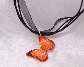 "Necklace Fimo ""Butterfly"" Orange and black - handmade"