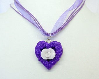 "Necklace Fimo ""Heart + Rose flower"" white and purple - handmade"