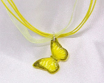 "Necklace Fimo ""Butterfly"" yellow and black - handmade"