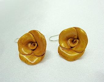"Earrings handmade polymer clay flower ""Rose"" gold metallic finish-"