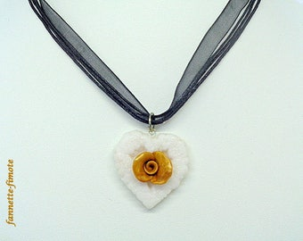 "Necklace Fimo ""Heart + Rose"" white and gold - handmade"