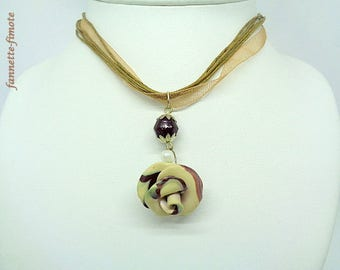 "Flower polymer clay necklace ""connector Indian glass round + pink"" gradient Brown Beige - handmade"