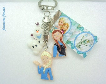 "Door key child polymer clay ""Of the snow Queen"" Frozen Elsa - Anna - Olaf + Ribbon - handmade"