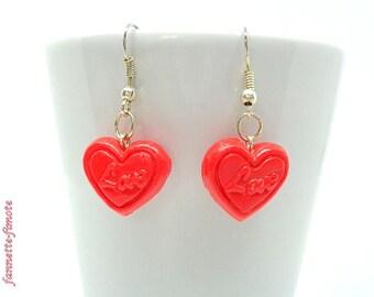 "Saint Valentine Fimo earrings ""Small heart Love"" red - handmade"