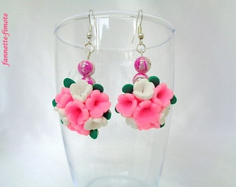 """Earrings """"Bouquet of flowers + Perle man-made"""" pink and white polymer clay - handmade"""