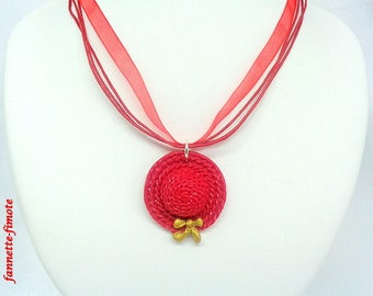 "Necklace Fimo ""Hat"" red and gold - handmade"