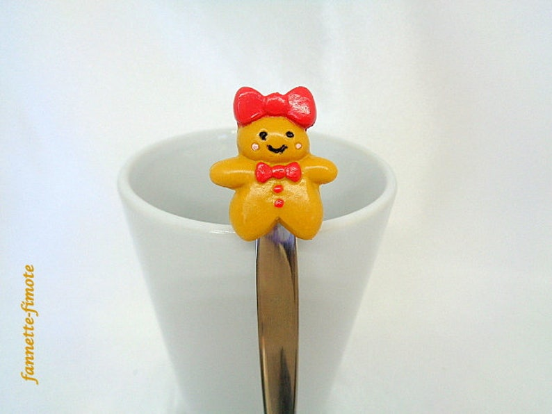 handmade Spoon stainless steel Madame gingerbread polymer clay