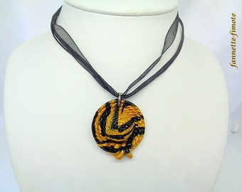 "Necklace Fimo ""Hat"" black and gold - handmade"