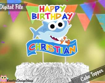 Baby Shark Cake Topper Digital Printable Birthday Decoration DIGITAL FILE