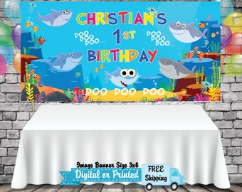 Baby Shark Banner Personalized Name Vinyl Custom Or Digital