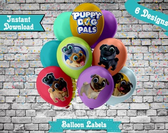 Puppy Dog Pals Balloon Labels Sun Labels Custom Balloon Labels Digital Balloon Labels Puppy Dog Pals Party Favors INSTANT DOWNLOAD