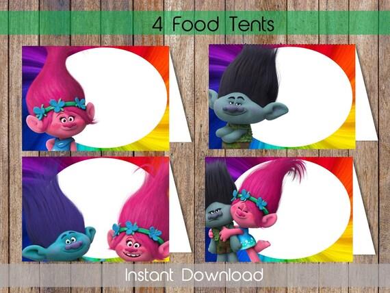 trolls food labels trolls food tent labels trolls candy labels etsy
