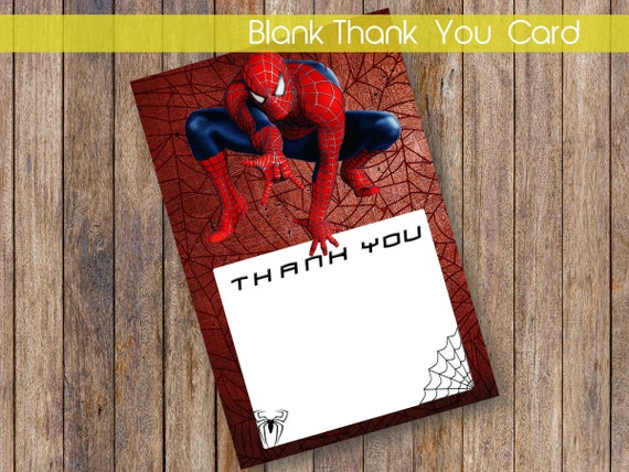 Spiderman Thank You Card Spiderman Printable Thank You Etsy