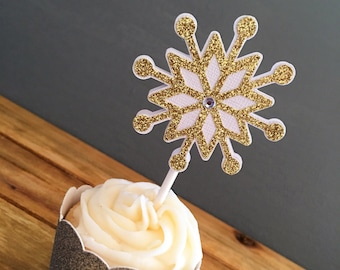 12 Glitter Snowflake Cupcake Toppers, Snowflake Cake Topper, Winter Baby Shower, Holiday Party, Snowflake Birthday, Winter Onederland