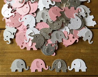 Pink and Gray Elephant Confetti, Elephant, die cut, elephant baby shower confetti, It's a Girl, elephant decoration, girl baby shower