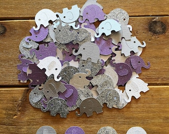 Purple Elephant Confetti, Silver Elephant, elephant baby shower confetti, It's a Girl, elephant decoration, girl baby shower