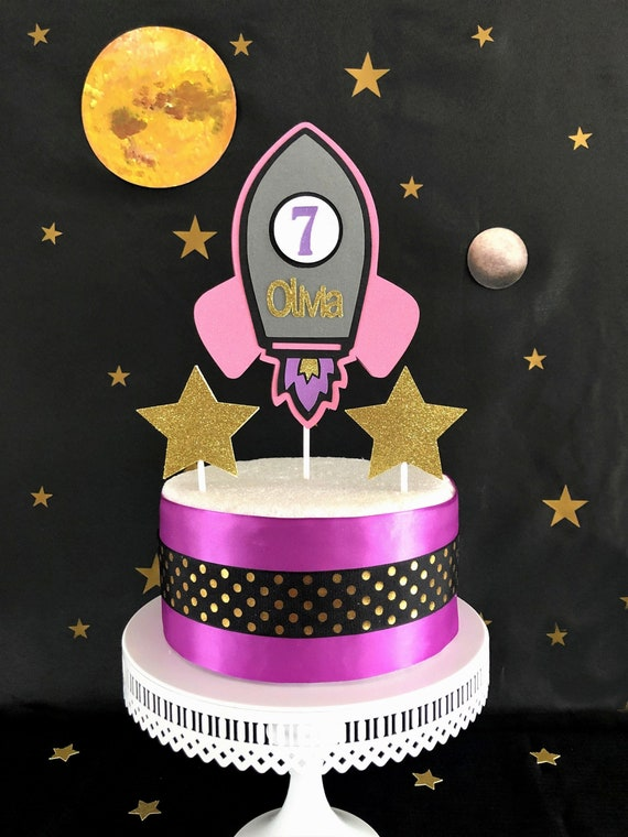 Brilliant Pink Rocket Cake Topper Outer Space Cake Topper Space Etsy Funny Birthday Cards Online Overcheapnameinfo