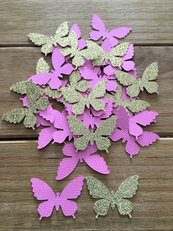 Pink And Gold Butterfly Confetti Pink Butterfly Baby -3081