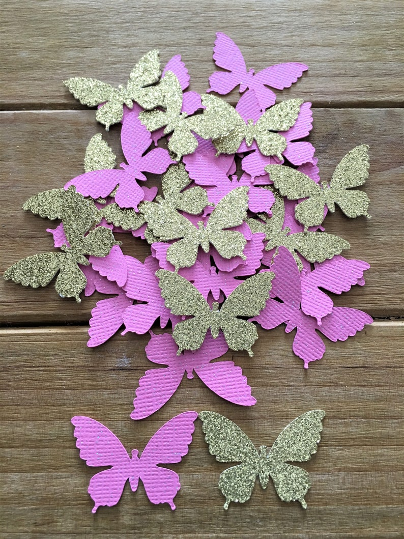 b23bfdfa4 Pink and Gold Butterfly Confetti Pink Butterfly baby shower | Etsy