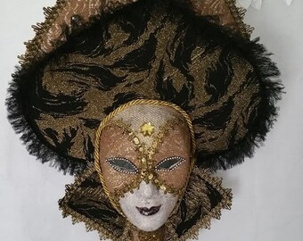 "Handmade, Original, One of a Kind, Paper Mache, ""Makarova"" Mask created by Soraya Ahmed, The Maskweaver"