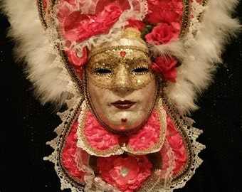 "Handmade, Original, One of a Kind, Paper Mache, ""Queen of Hearts"" Mask created by Soraya Ahmed, The Maskweaver"