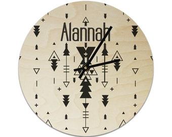 Geometric Tribal Modern Personalised Childrens Clock / Kids Clock